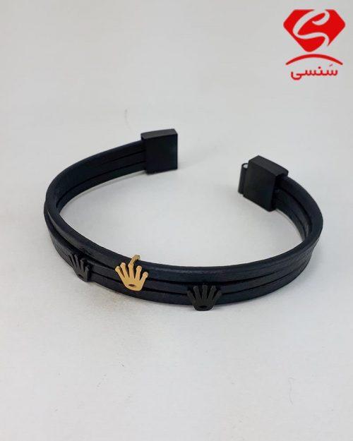 دستبند چرم و استیل جدید