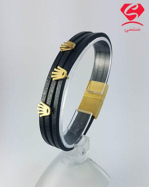 دستبند چرم و استیل کد025