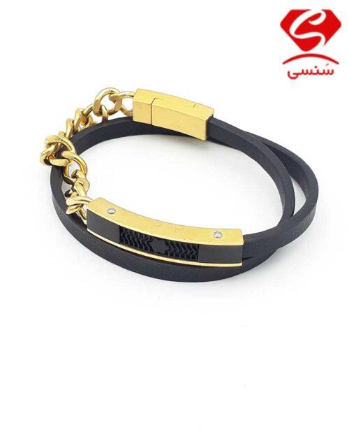 36 1 500x625 - دستبند چرم و استیل کد023