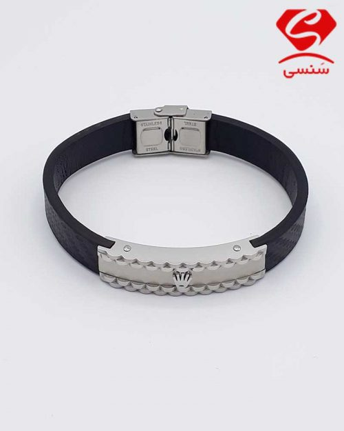 A014 500x625 - دستبند چرم و استیل کد71