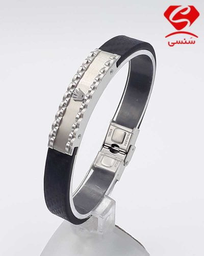دستبند چرم و استیل کد71