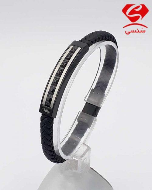 دستبند چرم و استیل کد70