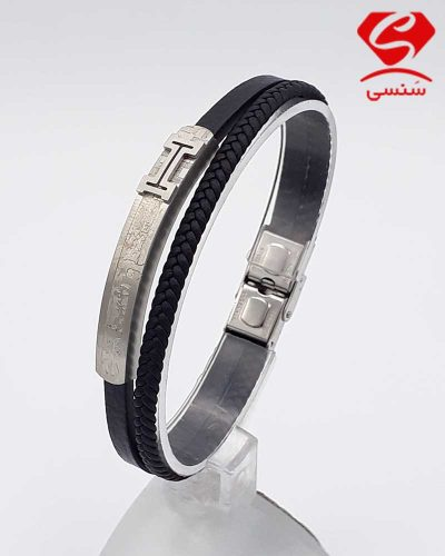 دستبند چرم و استیل کد72