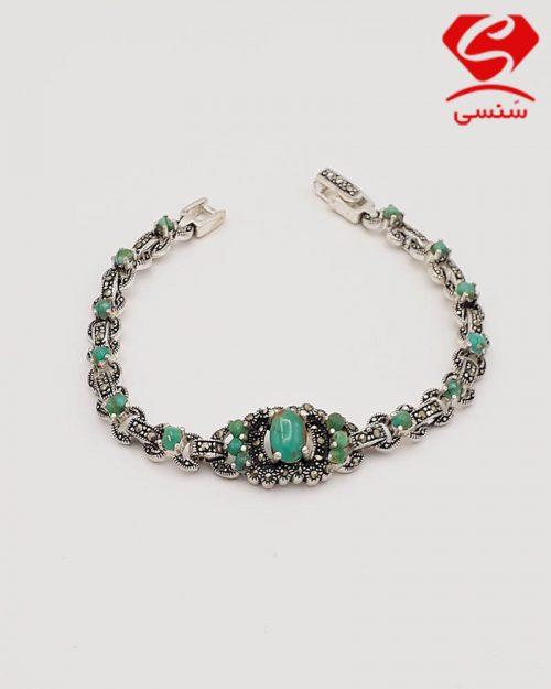 d07 500x625 - دستبند نقره با سنگ فیروزه