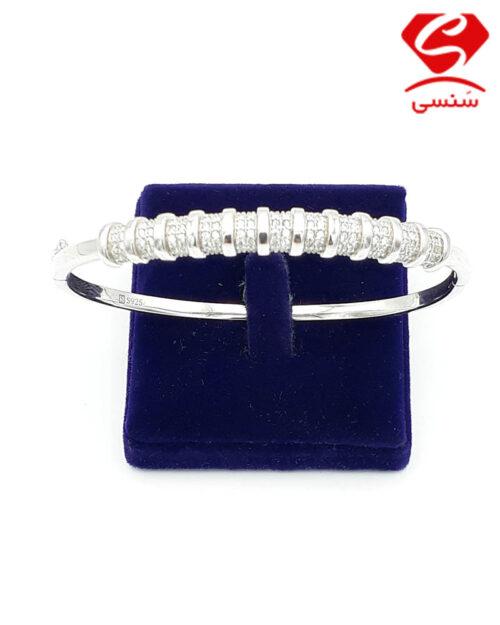 دستبند نقره طرح جواهر