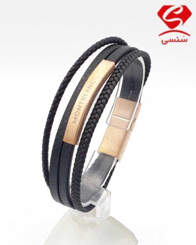 دستبند چرم و استیل کد55