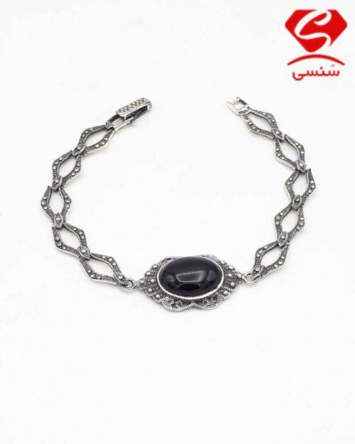 دستبند نقره عقیق مشکی